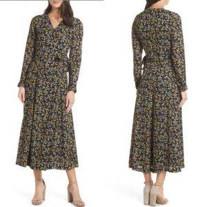 CAARA Cristal Wrap Midi Dress Floral NWT / Medium